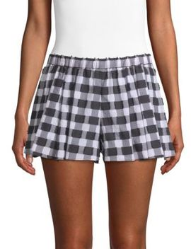 Pleated Gingham Shorts by Caroline Constas