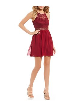 Lace Bodice Illusion Waist Fit And Flare Dress by Generic
