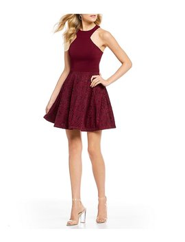Racer Neck Lace Skirt Fit And Flare Dress by Generic