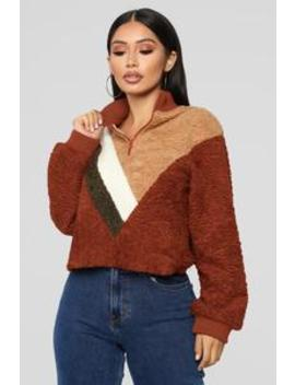 The Next Movement Pull Over   Rust/Combo by Fashion Nova