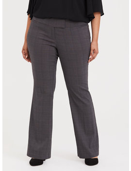 High Rise Relaxed Trouser Pant   Grey Plaid by Torrid
