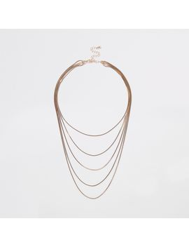 Gold Tone Layered Snake Chain Necklace by River Island