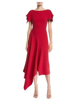 Warren Flutter Sleeve Round Neck Calf Length Dress W/ Handkerchief Hem by Roland Mouret