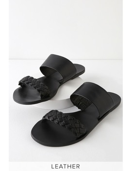 Caylee Black Nappa Leather Slide Sandals by Lulu's
