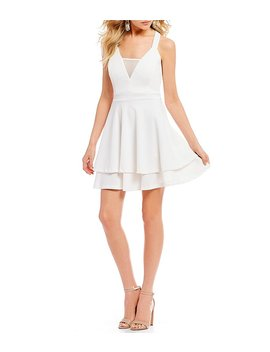 Illusion Inset Double Hem Fit And Flare Dress by Generic