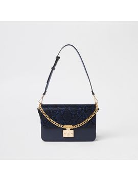 Navy Lock Front Snake Embossed Underarm Bag                                    Navy Lock Pocket Front Foldout Purse by River Island