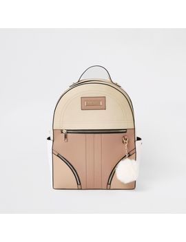 Beige Zip Front Back Pack by River Island