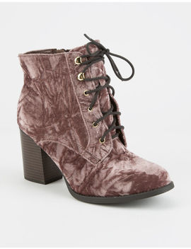 Soda Crushed Velvet Lace Up Womens Boots by Soda