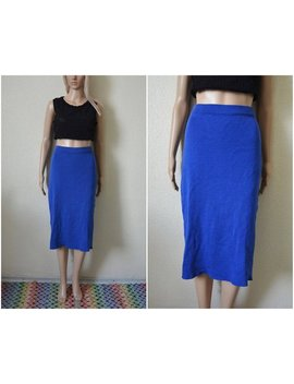 Blue Wool Skirt Midi Pencil Skirt Cobalt Blue High Waisted Knitted Fitted Pin Up French Vintage 90s Retro Mod S Small Uk 8 10 by Nordic Retro Style