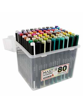 80 Color Master Markers Permanent Professional Dual Tip Alcohol Double Ended Art Markers With Chisel Point And Brush Tip   Soft Grip Barrels, Includes: Plastic Storage Case by Mastermarkers