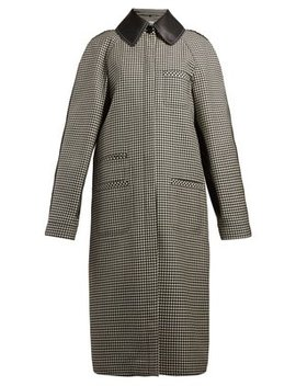 Leather Collar Houndstooth Wool Coat by Loewe