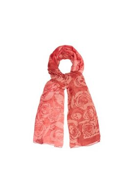 Rose And Skull Print Semi Sheer Scarf by Alexander Mc Queen