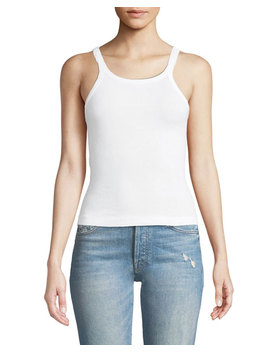Ribbed Scoop Neck Fitted Tank by Redone