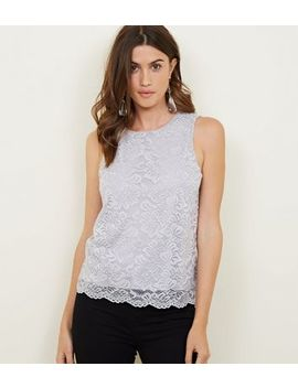 Grey Lace Keyhole Back Vest Top by New Look