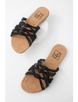 Ink Black Knotted Slide Sandals by Lulu's