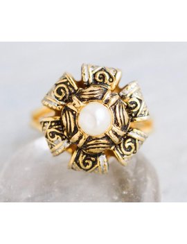 Damascene Flower Ring   Antique Jewelry   Adjustable Size 5 by Meanglean