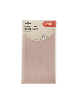 Wilko Fitted Sheet Blush Pink Single by Wilko