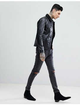 Asos Leather Trucker Jacket With Borg Collar In Black by Asos