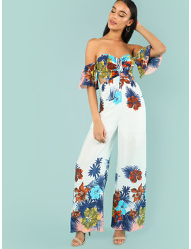 Cutout Side Tropical Bardot Jumpsuit by Shein