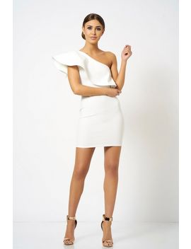 **One Shoulder Frill Detailed Mini Bodycon Dress By Club L London by Topshop