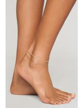 Zoe Rhinestone Anklet   Gold by Fashion Nova