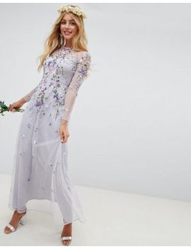 Asos Design Bridesmaid Long Sleeve Pretty Embroidered Maxi Dress by Asos Design