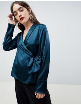 Asos Design Satin Wrap Top With Piping Detail by Asos Design