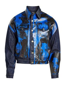 X Andy Warhol Bedruckte Jeansjacke Aus Baumwolle by Calvin Klein 205 W39 Nyc