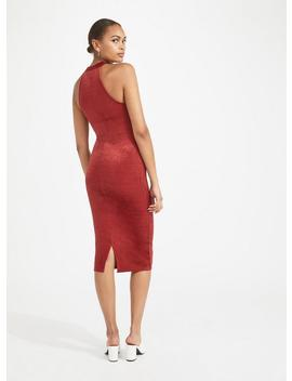 Rust Velvet Ribbed Midi Bodycon Dress by Miss Selfridge
