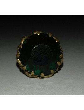 Vintage Ring With Dark Green Stone   Adjustable Size. by Redhoo K Retro