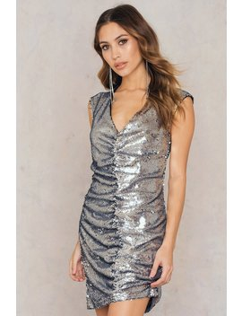 Gathered Front Sequins Dress by Na Kd
