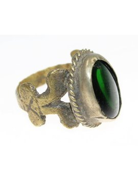 Kuchi Tribal Nomad Oriental Ring With Green Glass Jewel, Vintage, Tribal Ring, Us 6 1/2, Distressed Used Nomad Ring, Tribal Jewelry by Neemahe Tribal