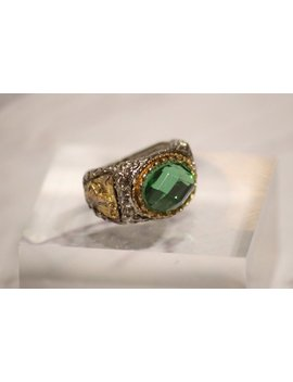 Vintage Green Statement Ring by Strand Road Vintage
