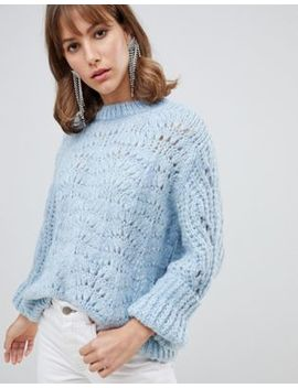 River Island Stitch Sweater In Light Blue by River Island