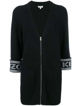 Kenzologo Cuff Knitted Cardi Coathome Women Kenzo Clothing Cardi Coats A Line Mini Skirt Eclypse Sneakerslogo Cuff Knitted Cardi Coat by Kenzo