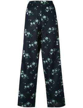 Kenzo Cheongsam Flower Trousershome Women Kenzo Clothing Straight Leg Pants Metallic Silver Eclypse Sneakers Cheongsam Flower Trousers by Kenzo
