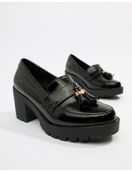 River Island Chunky Heeled Loafer In Black by River Island
