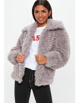 Mink Boxy Shaggy Borg Jacket by Missguided