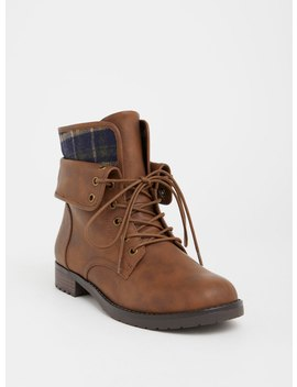 Brown Foldover Combat Boot (Wide Width) by Torrid