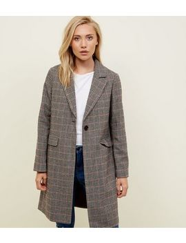 Petite Brown Check Longline Coat by New Look
