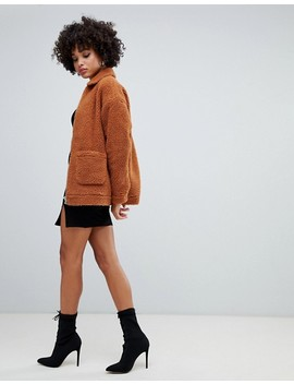 Missguided Oversized Pocket Detail Borg Jacket In Rust by Missguided