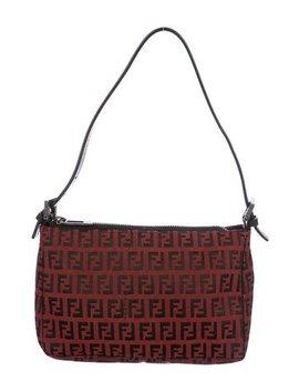 Fendi Leather Trimmed Zucchino Shoulder Bag by Fendi