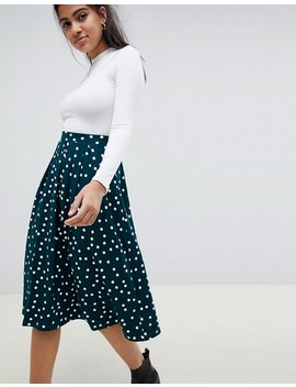 Asos Design Midi Skirt With Box Pleat In Polka Dot Print by Asos Design