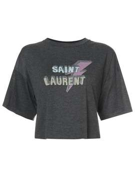 Saint Laurentcropped Lightening Bolt T Shirthome Women Saint Laurent Clothing T Shirts & Jersey Shirts by Saint Laurent