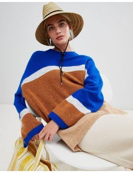 Weekday Stripe Panel Knit Sweater In Blue And Stripe by Weekday
