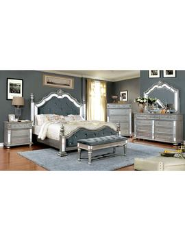 Furniture Of America Joliet Traditional Tufted Silver Bed by Furniture Of America