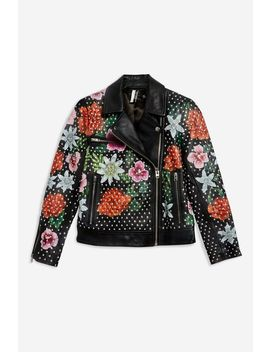Floral Leather Biker Jacket by Topshop