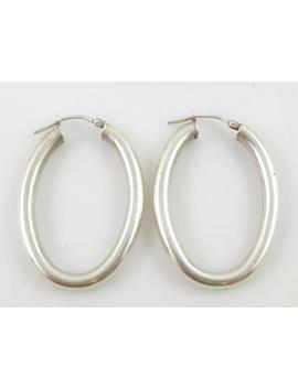 Modernist Smooth Oval Sterling Silver U Hoop Earrings by Ebay Seller