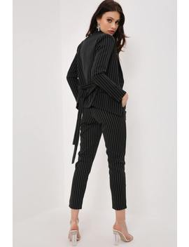 Black Pinstripe Tailored High Waisted Trousers by I Saw It First