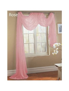 "Qutain Linen Solid Viole Sheer Scarf Window Valance Topper 37"" X 216 Inch   Rose Pink by Empire Home Fashion"